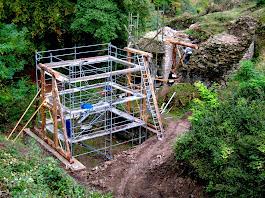 Errichtung der Brückenpfeiler