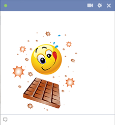 Emoticon and chocolate bar