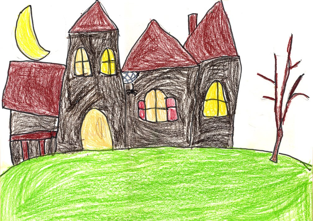 How to draw a haunted house art projects for kids for Easy haunted house to draw
