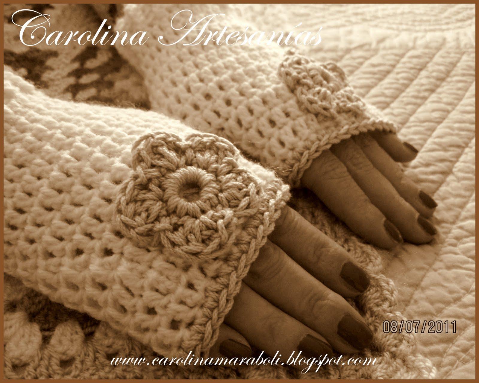 195.- Mitones sin dedos, tejidos a mano, crochet, blanco invierno