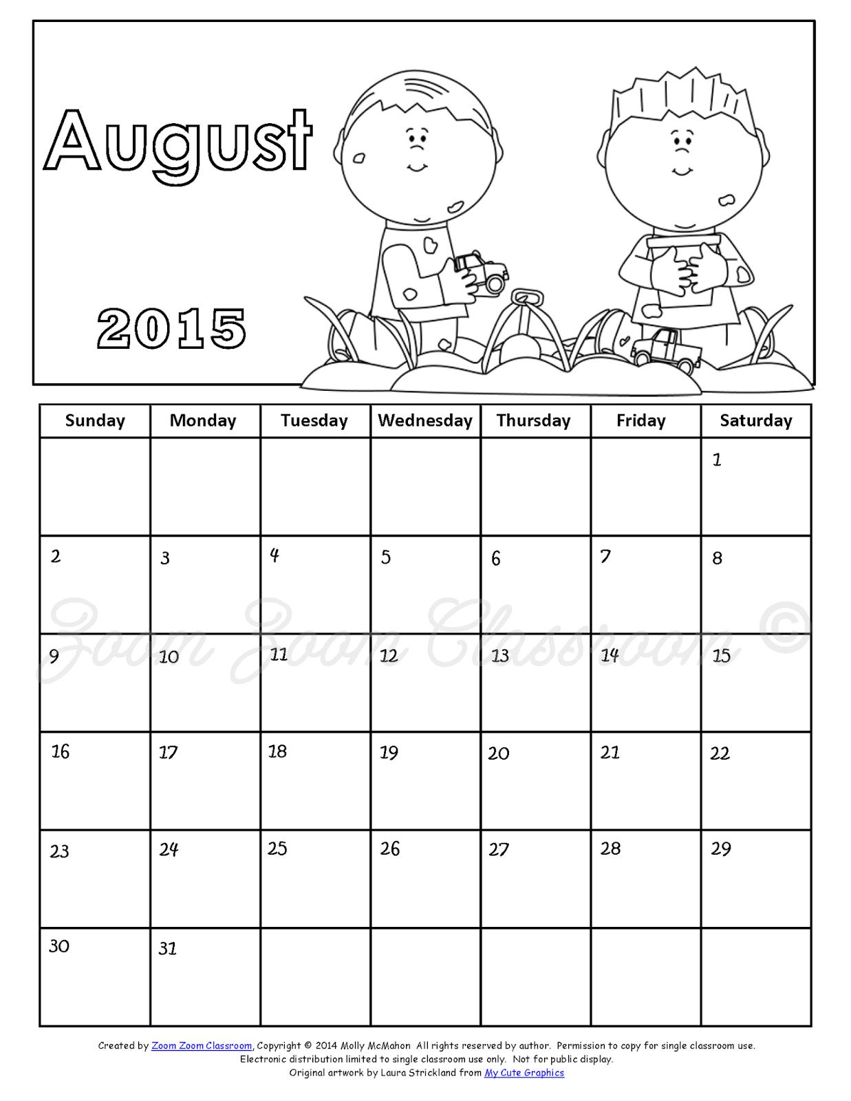 august 2015 blank calendar