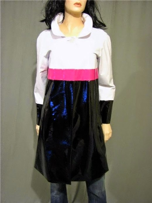 patent leather color block raincoat