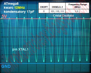 ATmega8 kwarc 12MHz, CKOPT=0 CKSEL3..1=111 - Obraz sygnału oscylatora na pinie XTAL1 w czasie pracy rail-to-rail