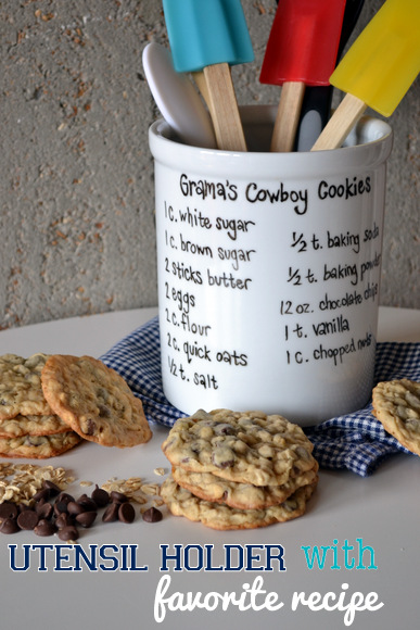 Casey made this custom utensil Holder with her grandma's famous cookie recipe
