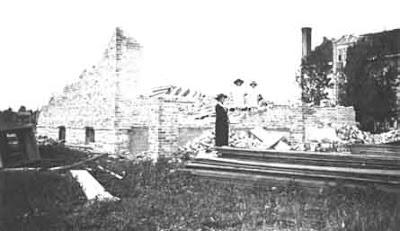 A building under destruction.