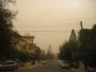 Showing the sepia toned appearance of Cyprus during the sandstorm