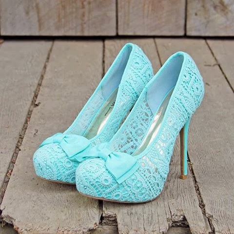 Light Sky Blue Color With Mint & Lace Heels Shoes