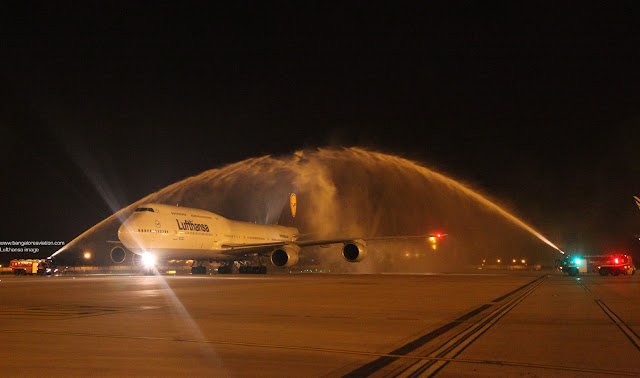 Lufthansa's Boeing 747-8i D-ABYA receives water cannon salute at Delhi airport on first arrival