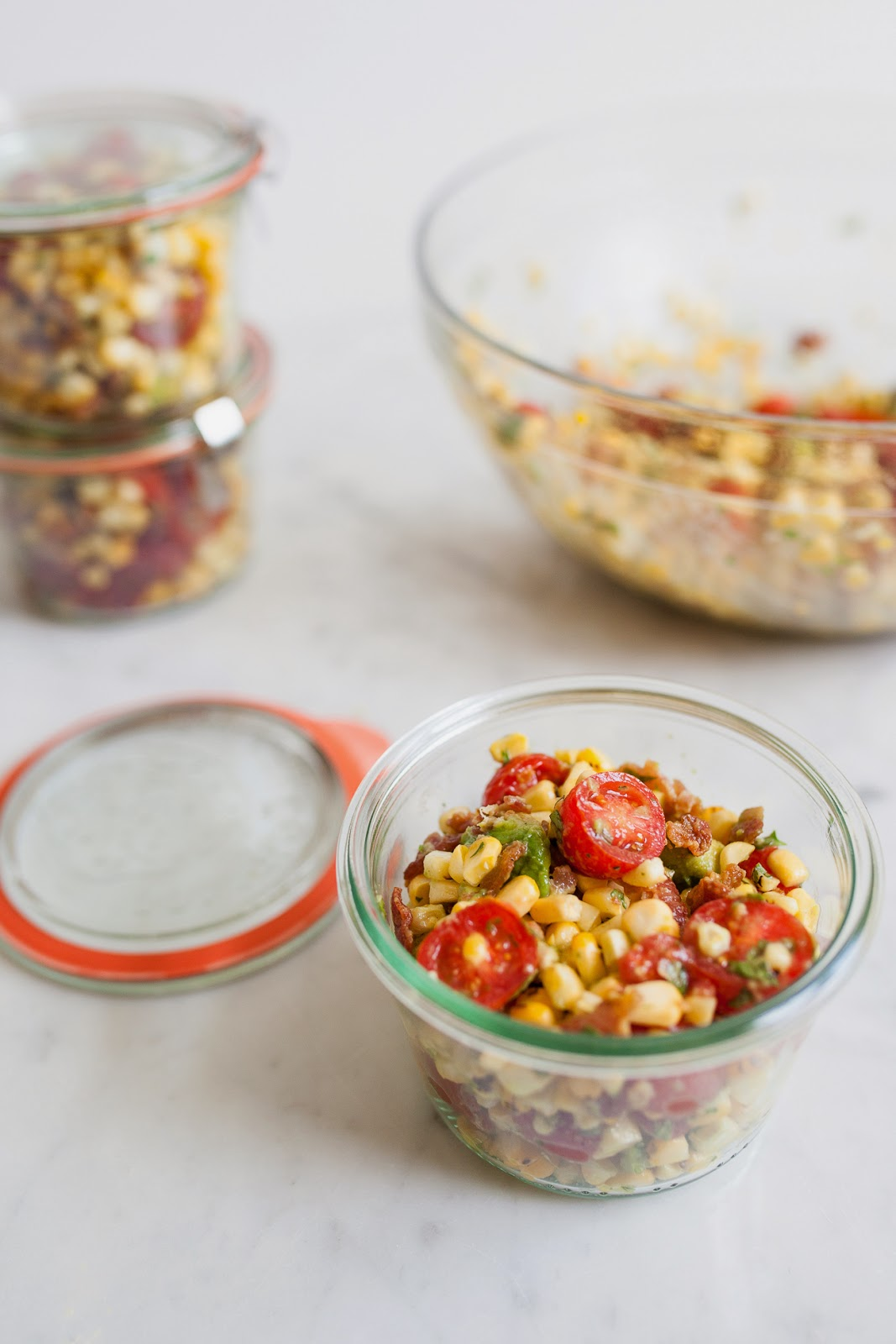 Bacon, Corn, Avocado and Tomato Salad #sweetsurprisesweeps / blog.jchongstudio.com