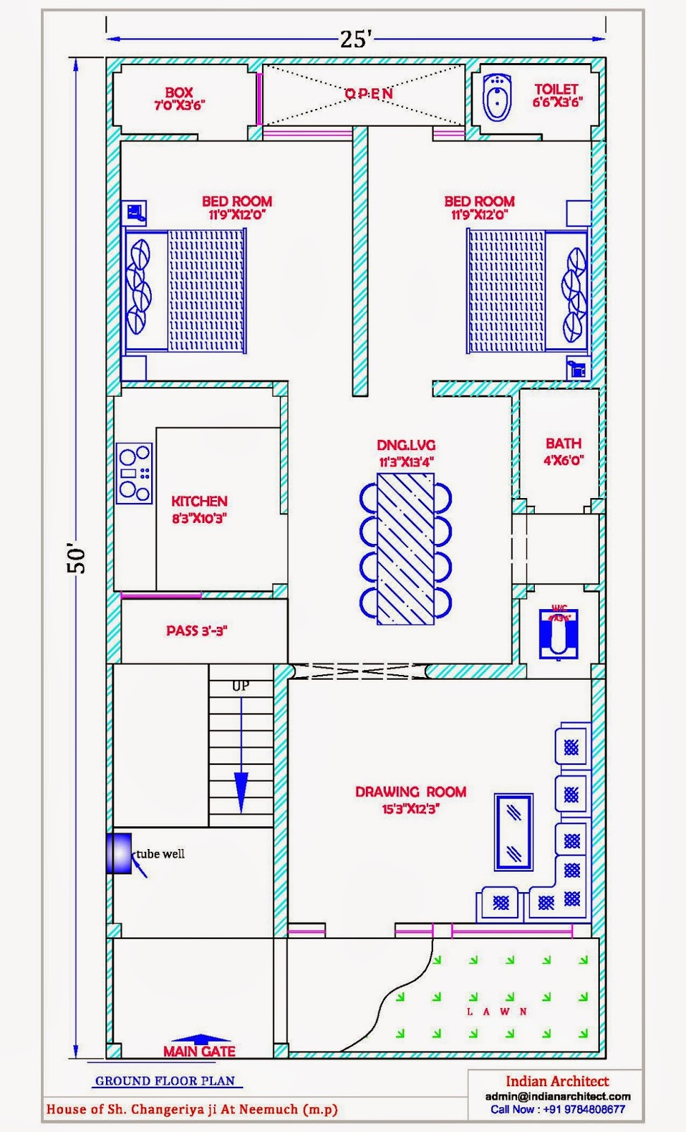 Mr changeriya ji house plan exterior design at neemuch for Indian home map plan