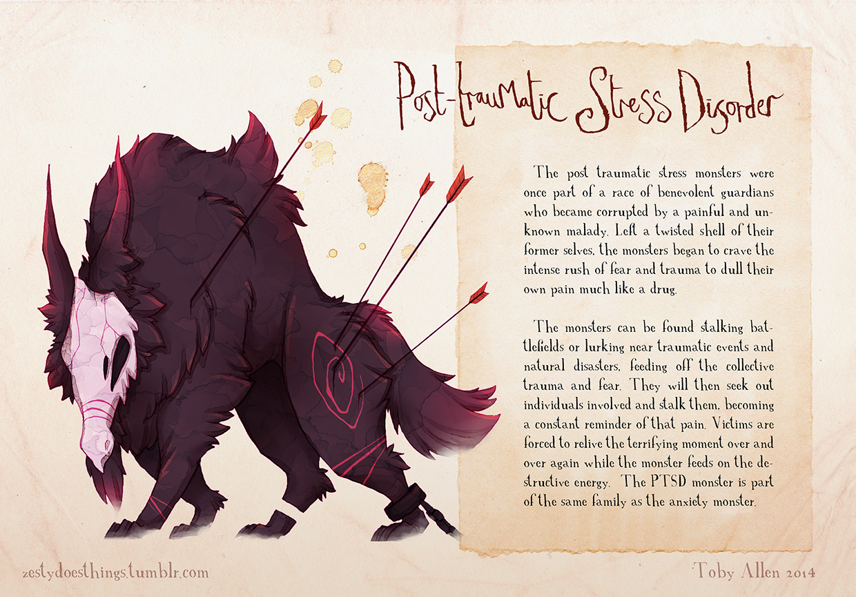 12-Post-Traumatic-Stress-Disorder-PTSD-Toby-Allen-Monster-Illustrations-to-Embody-Mental-Illness-www-designstack-co