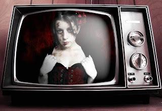 Gothic Girl In An Old TV Dark Gothic Wallpaper