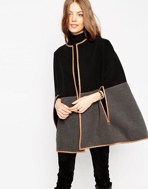 leather trim black cape, colour block cape, black grey cape,