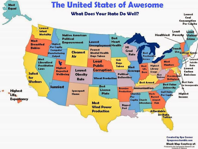 USA positive stereotype map