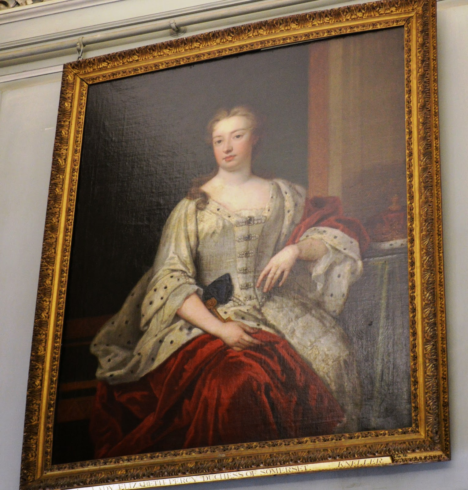 painting, potrait, marriage, noble woman, duchess, countess, Petworth House and Garden, inside, interior, visit, review, National Trust, history, UK, England, Sussex, historical property, old building, culture, day trip, photo, photograph, Percy Family, Elizabeth Seymour, Duchess of Somerset, Earl of Egremount, Wyndham