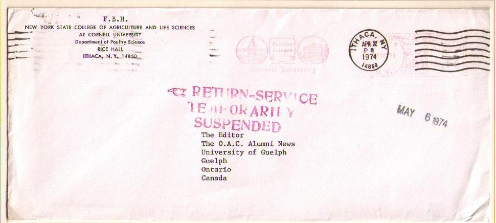 Postal history corner ithaca to guelph april 22 1974 sciox Gallery