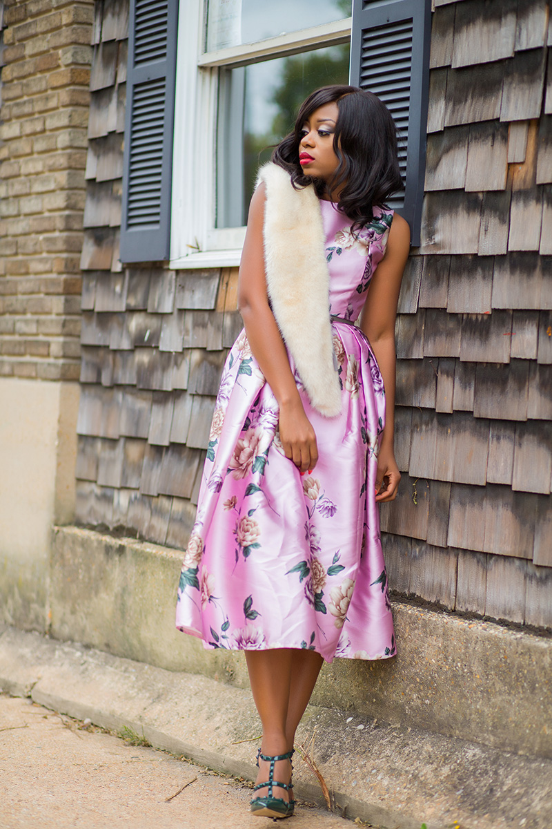 Wearing a floral dress in fall, Chicwish floral dress