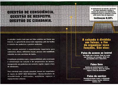 Foto: Folder da coordenadoria - costas - Calçada Cidadã. Conteúdo descrito no final post.