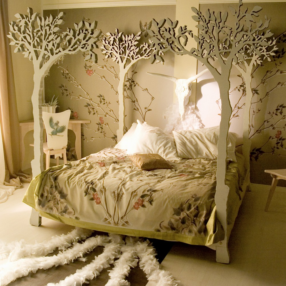 Interior design home decor furniture furnishings Romantic bed designs