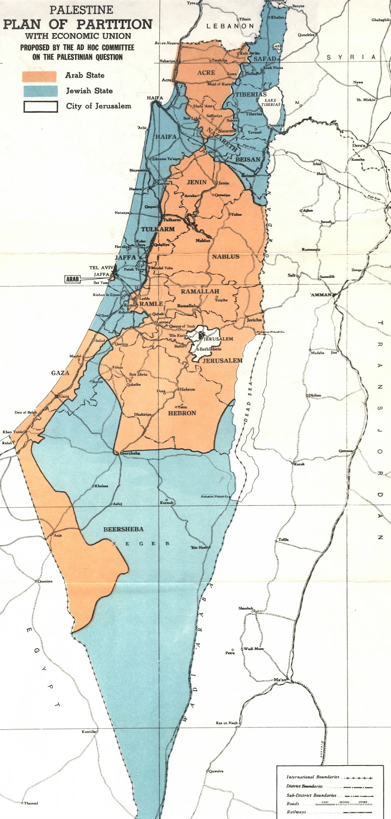 Historical maps of israel and palestine plan of partition with economic union gumiabroncs Gallery