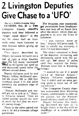 Deputies Give Chase to a 'UFO' - Buffalo Evening News 10-21-1974