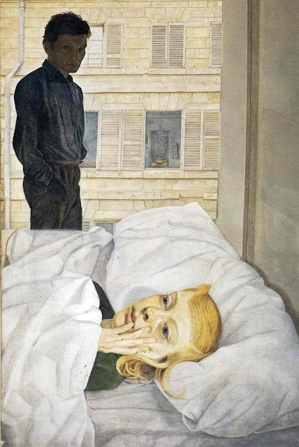 artwork, by, portrait painter, Lucian Freud, Hotel Bedroom