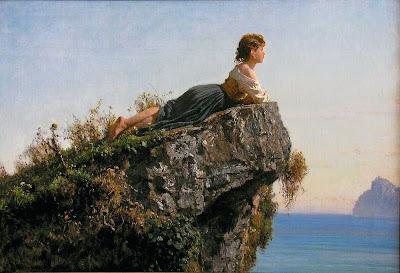 Filippo Palizzi Fanciulla sulla roccia a Sorrento