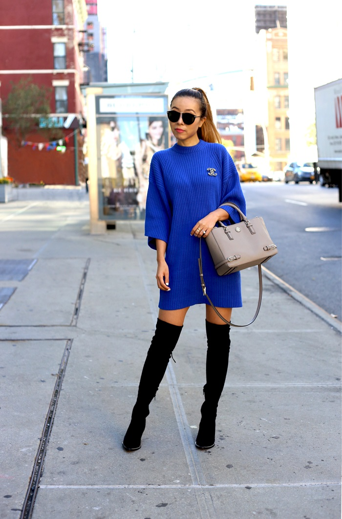 ASOS blue sweater dress, Karen Walker harvest sunglasses, baublebar ring, steve madden OTK boots, Tory burch mini robinson bag, street style, fashion blog, nycblogger, fall essentials, Chanel Brooch