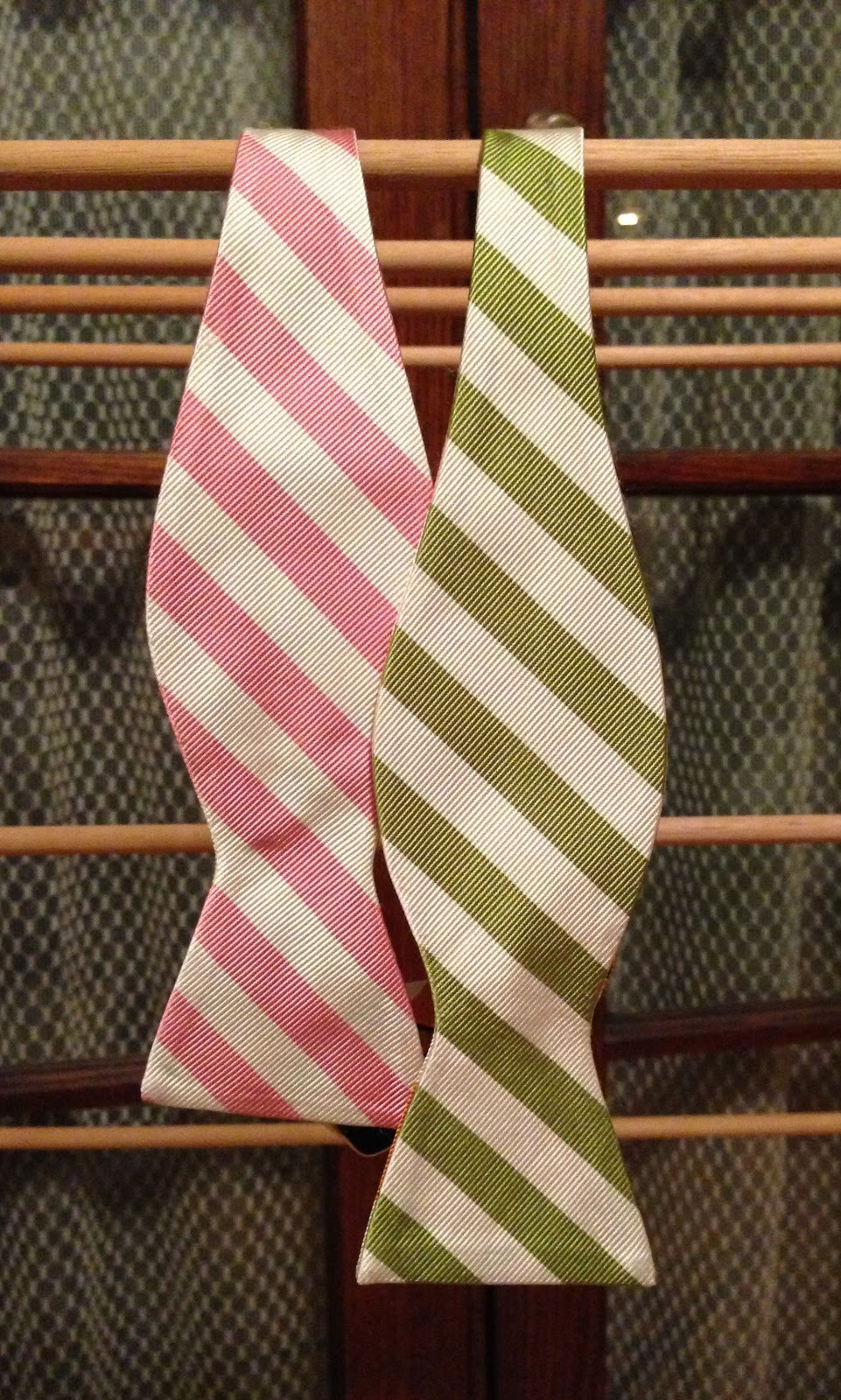 The Last Two Color Panels Of The Jos A Banks Tie Are A Pink And White  Striped Section And An Green And White Striped Section