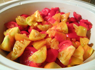 Cut up Tomatoes in Slow Cooker