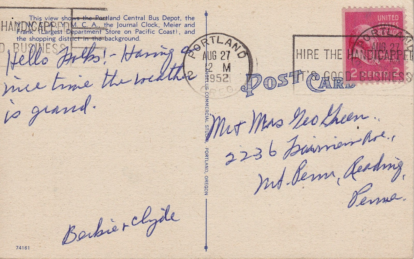Portland Central Bus Depot, Portland, Oregon Vintage Postcard (Back with Message)