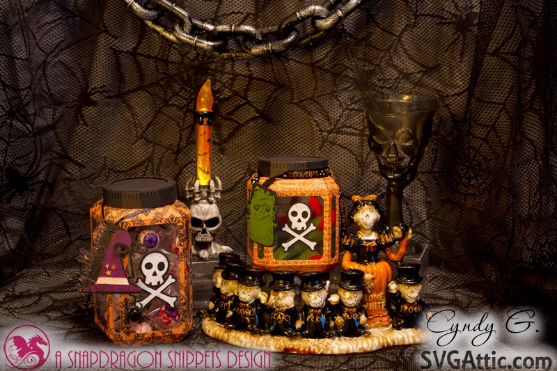 Haunted scene of 3d paper Halloween jars