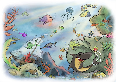 underwater cartoon illustration