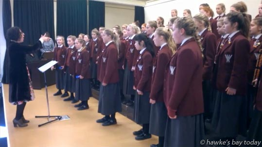 Grace Notes, a Woodford House choir, performing at The Kids Sing Primary and Intermediate Schools Choir Festival, organised by New Zealand Choral Foundation, at Heretaunga Intermediate School, Hastings. photograph