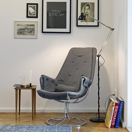 Rincón d electura moderno sillón gris