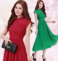 Short-Sleeved Chiffon Midi Dress