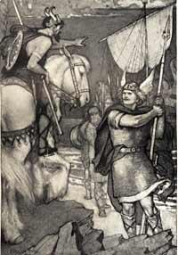 Llegada de Beowulf a Dinamarca