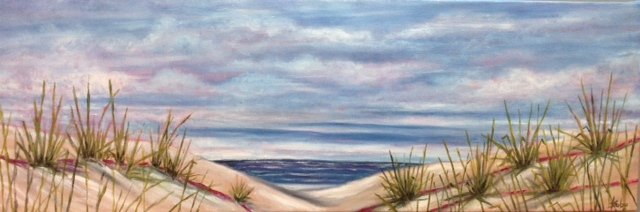 beach, painting, oil panting, Lake Erie, Canada's South Coast, Debra Kubu