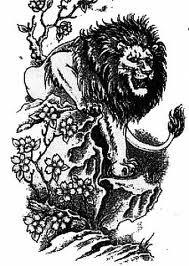 Motif Tato Singa Hitam Putih 31