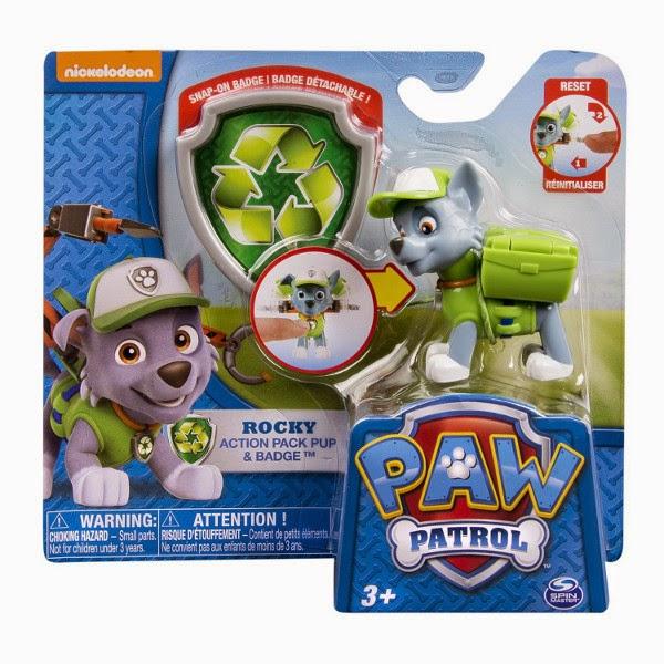JUGUETES - Paw Patrol : La Patrulla Canina  Rocky | Figura - Muñeco + placa  Toys | Serie Televisión | Spin Master | A partir de 3 años
