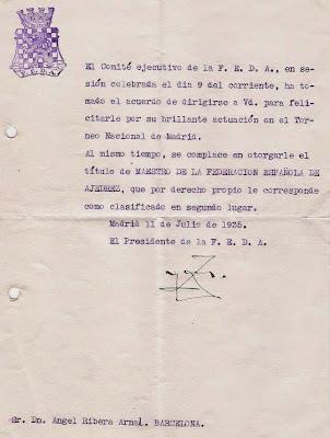 Felicitación del Presidente de la FEDA a Ribera