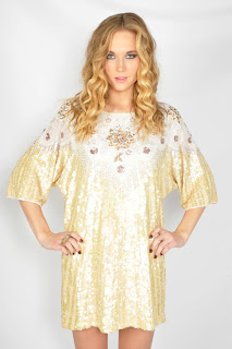 Vintage 1980's cream colored sequin embellished mini trophy dress.