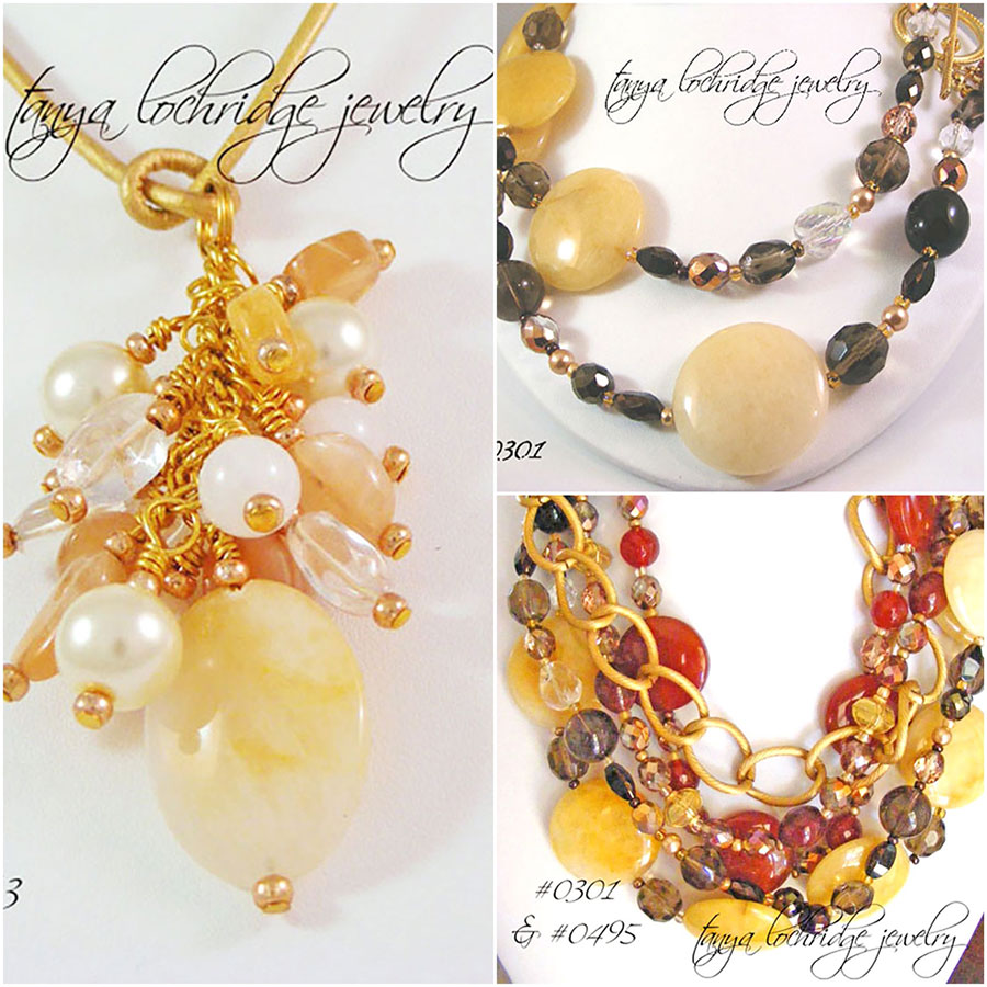Tanya Lochridge Jewelry Yellow Jade, Smoky Quartz, Crystal Quartz, Calcite, Carnelian Necklaces