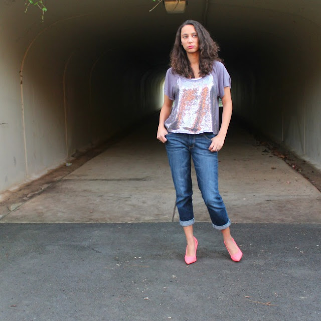 Boyfriend Jeans Sparkle Top Neon Heels Casual