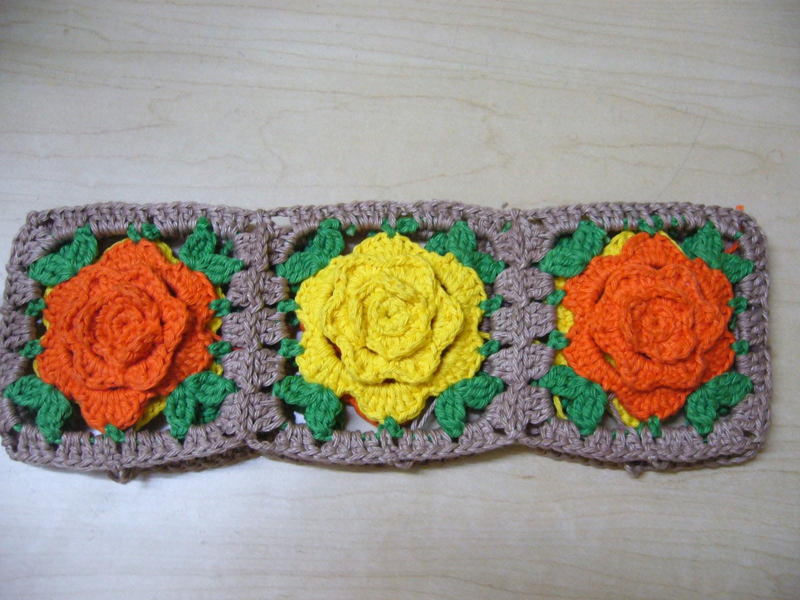 Crochet Rose Pattern Granny Square : Crochetkari: Crochet Rose Basket