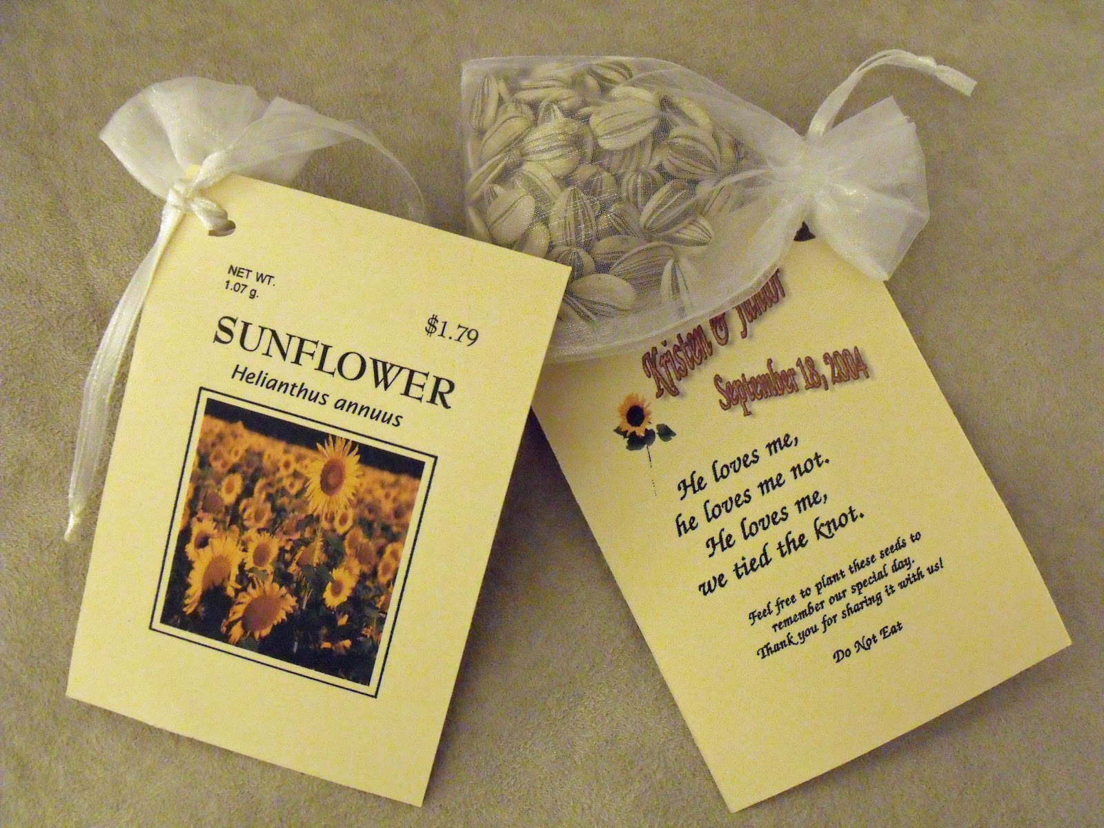 A Few Of My Favorite Things Sunflower Seed Packet Wedding Favor