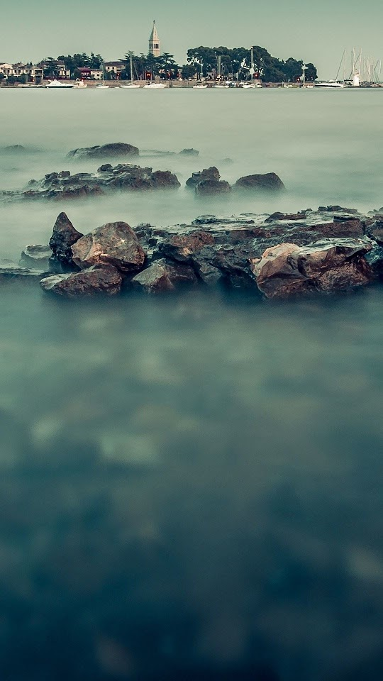Misty Waters Near The City  Galaxy Note HD Wallpaper