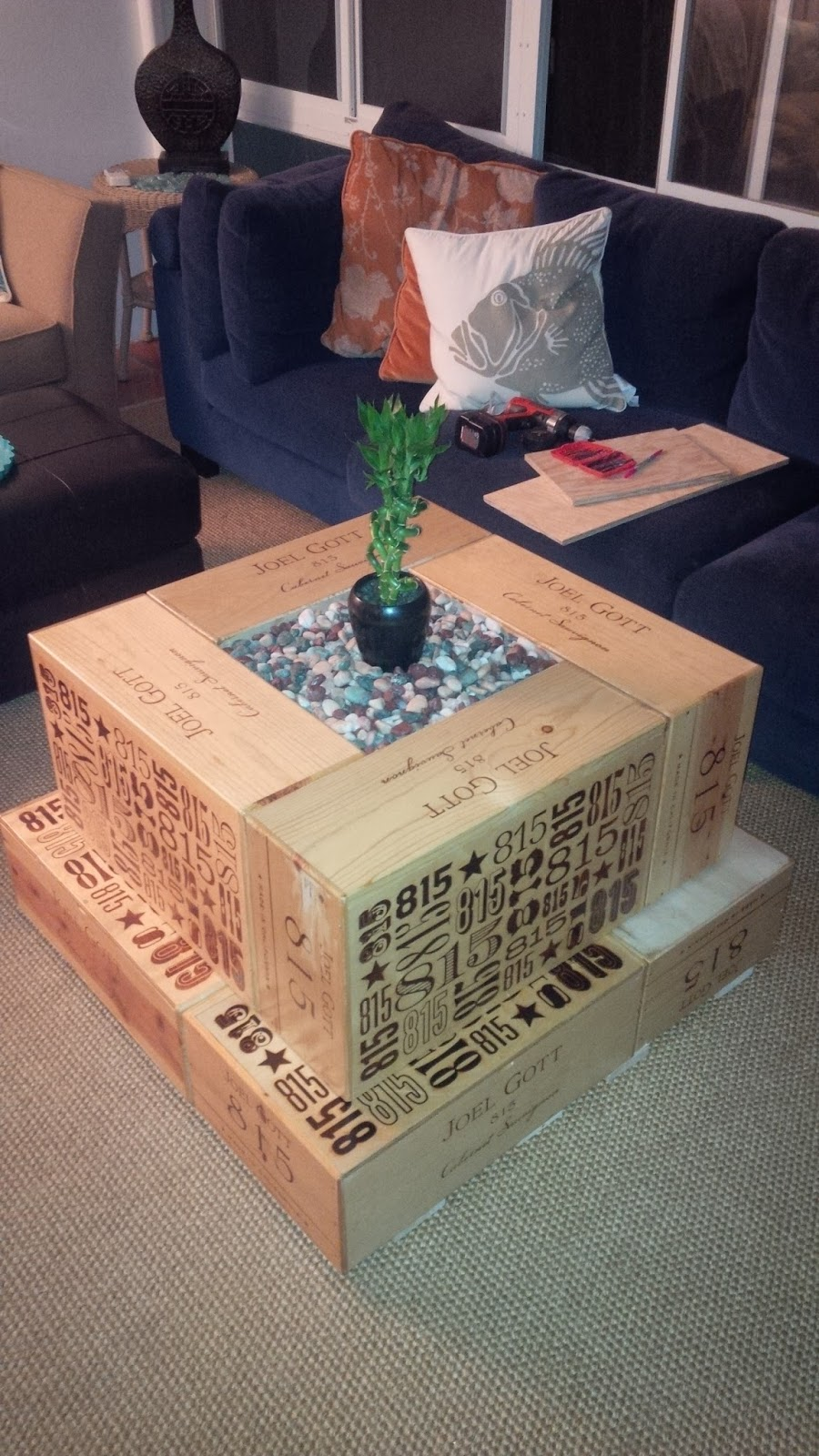 Do It Yourself Coffee Table From Salvaged Wine Crates Wine Crate Coffee Table