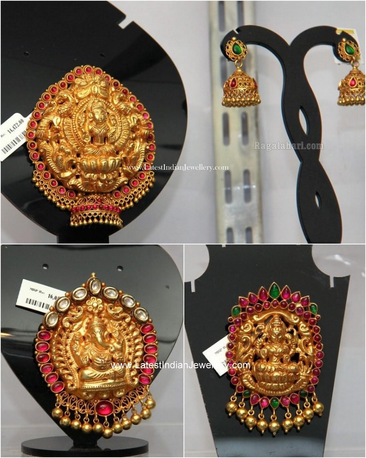 temple jewellery laxmi ganesh pendants