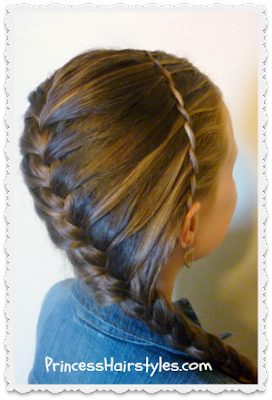 Diagonal #frenchbraid and #waterfalltwist princesshairstyles.com